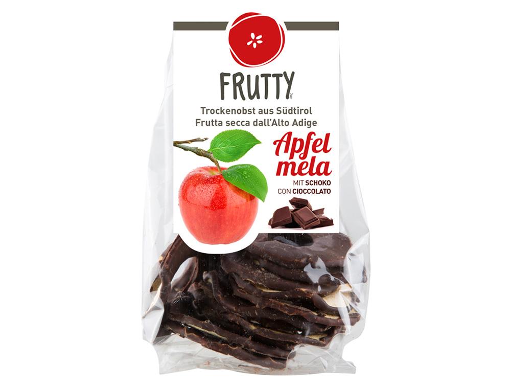 Getrocknete Äpfel mit Schokolade Frutty
